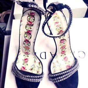 Gucci crystal-embellished suede sandal.